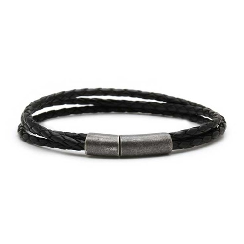CUDWORTH BLACK LEATHER TRIPLE STRAND BRACELET
