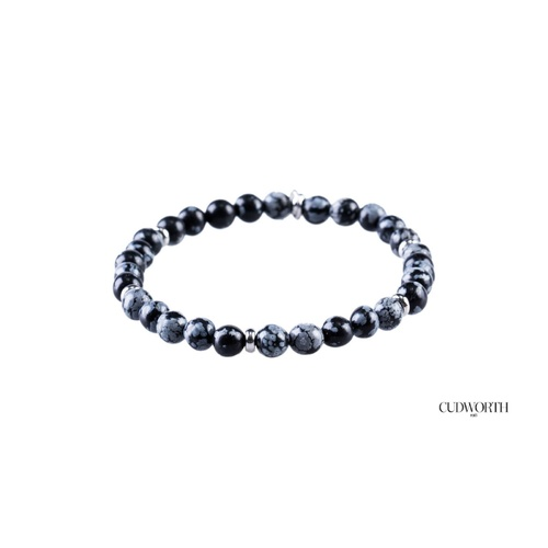 CUDWORTH BLACK AND BLUE AGATE BEADED BRACELET