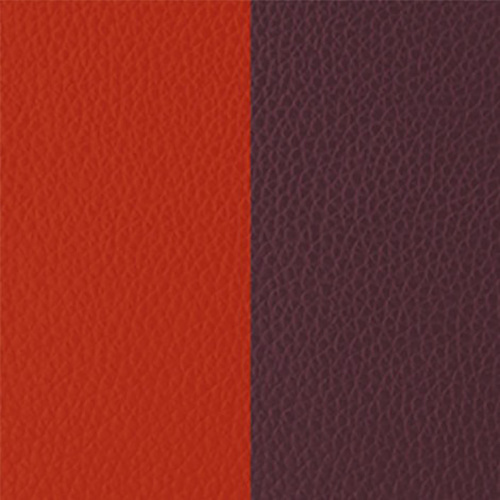 LES GEORGETTES PENDANT LEATHER ORANGE RED / PINK BROWN RECTANGLE – 60mm