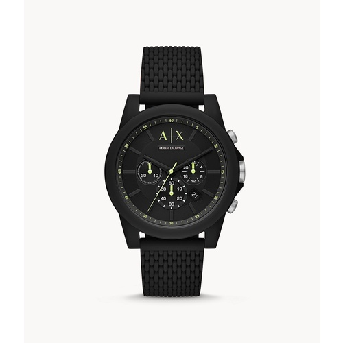 ARMANI EXCHANGE OUTERBANKS BLACK SILICONE WATCH