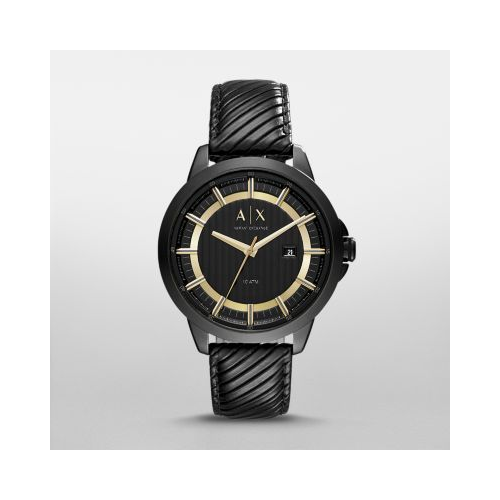 ARMANI EXCHANGE COPELAND BLACK LEATHER AND GOLD TONE WATCH