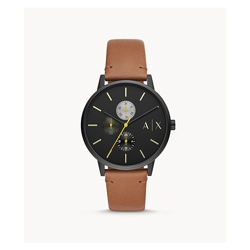 ARMANI EXCHANGE CAYDE MULTI FUNCTION TAN LEATHER WATCH