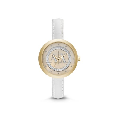 ARMANI EXCHANGE YELLOW GOLD TONE AND WHITE LEATHER JULIETTA