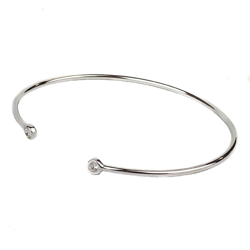 STERLING SILVER CZ OPEN BANGLE