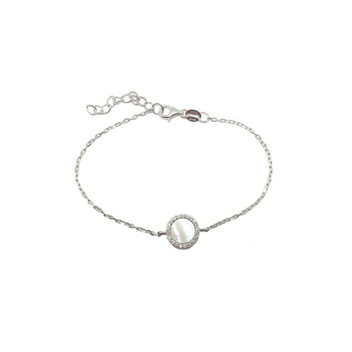 STERLING SILVER MOTHER OF PEARL DISC BRACELET WITH CUBIC ZIRCONIAS