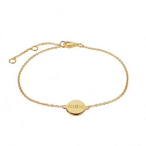 CURE BRAIN CANCER FOUNDATION BELIEVE BRACELET YELLOW GOLD