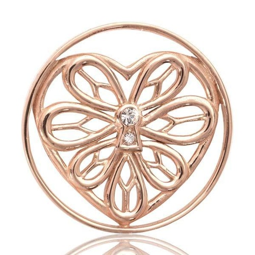 NIKKI LISSONI PEACEFUL HEART ROSE GOLD PLATED 33MM COIN