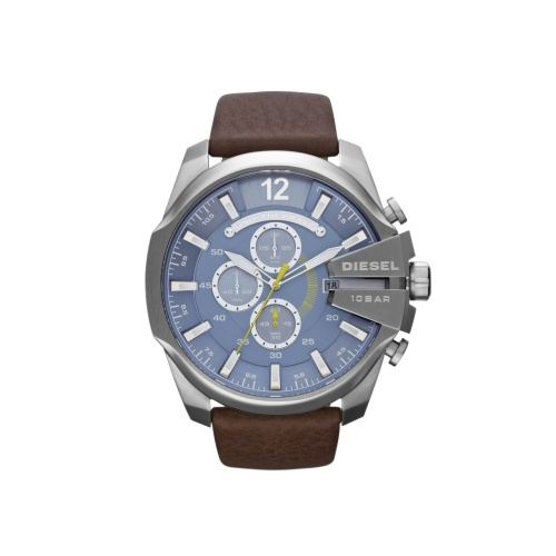 DIESEL 100M W/R BROWN LEATHER CHRONOGRAPH MEGA CHIEF