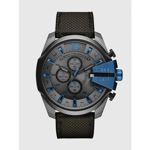 DEISEL MEGA CHIEF GUNMETAL NYLON WATCH