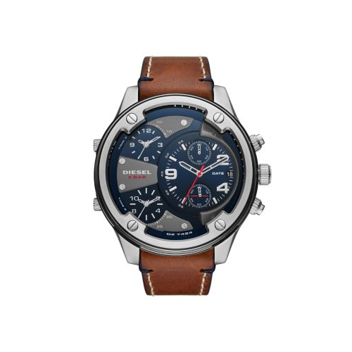 DIESEL BROWN LEATHER BOLTDOWN WATCH