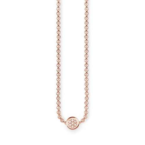 THOMAS SABO CIRCLES ROSE GOLD PLATED DIAMOND NECKLACE 40-45CM