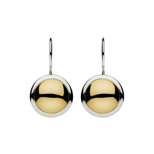 NAJO BRASS & SILVER DISC DROP EARRINGS
