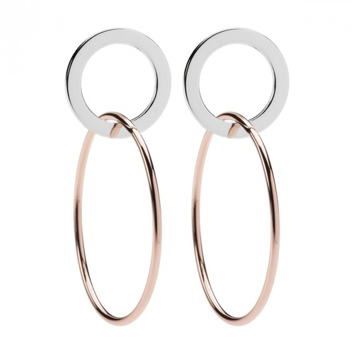 NAJO ROSE GOLD PLATED HOOP BELOW STERLING SILVER CIRCLE STUDS