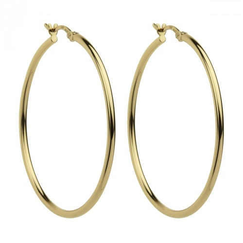NAJO YELLOW GOLD PLATED STERLING SILVER HOOPS 45mm