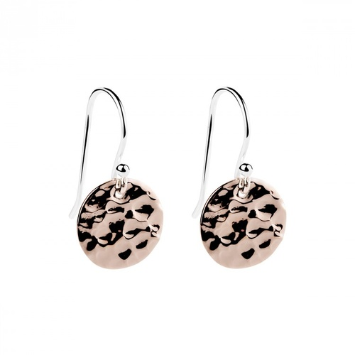 NAJO ROSE GOLD PLATED STERLING SILVER BEATEN CIRCLE HOOK EARRINGS