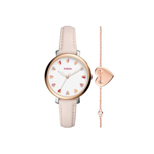 FOSSIL HEARTS BLUSH LEATHER JACQUELINE WATCH AND BRACELET GIFT SET