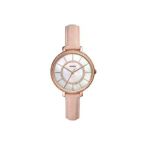 FOSSIL BLUSH LEATHER AND ROSE GOLD JOCELYN WATCH