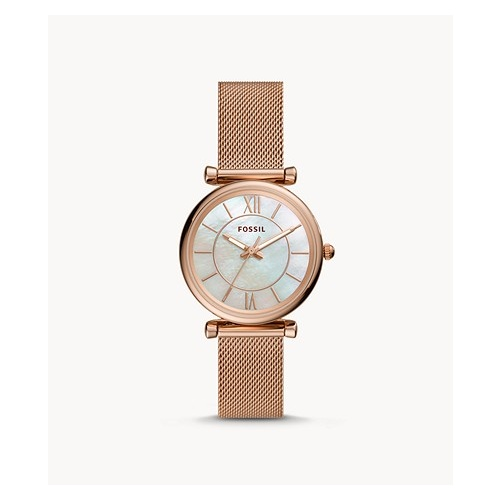 FOSSIL CARLIE ROSE GOLD MESH WATCH