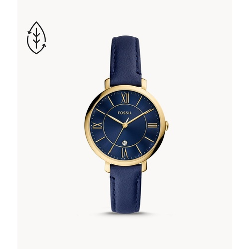 FOSSIL JACQUELINE THREE-HAND NAVY  LEATHER WATCH