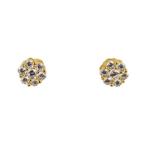 YELLOW GOLD CZ CLUSTER STUDS