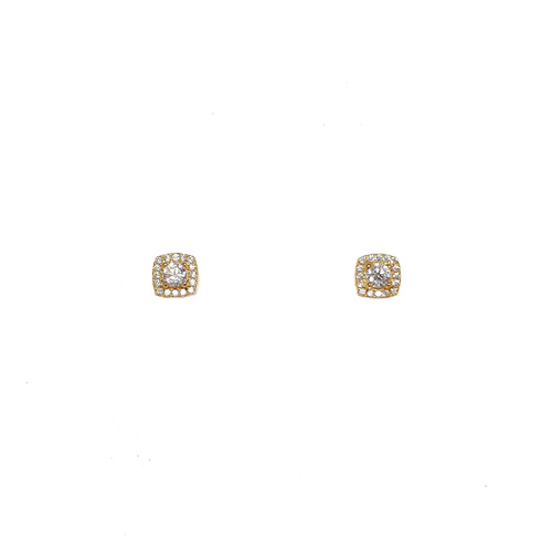 YELLOW GOLD CZ SQUARE STUDS