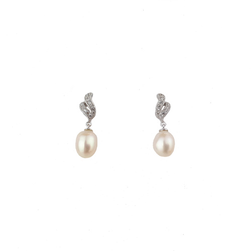 SANTO STERLING SILVER AND FW PEARL TWO SWIRL CZ STUDS