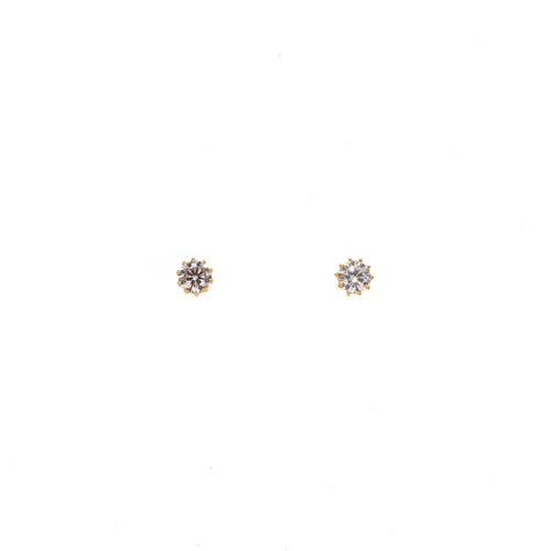 YELLOW GOLD 5mm CZ STUDS