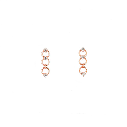 ROSE GOLD 3 SMALL CIRCLE DROP STUDS