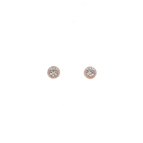 ROSE GOLD CZ HALO STUDS