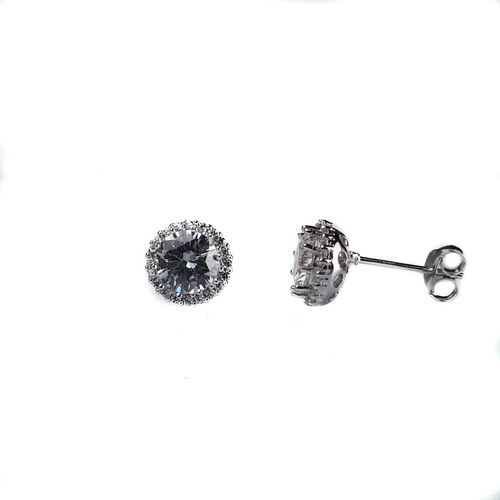 STERLING SILVER CZ HALO STUDS