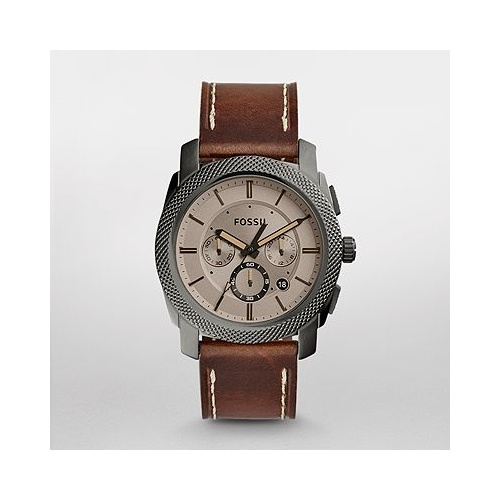FOSSIL MACHINE BROWN LEATHER CHRONOGRAPH WATCH FS5215