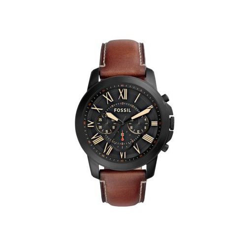 FOSSIL GRANT BLACK DIAL AND BROWN LEATHER WATCH