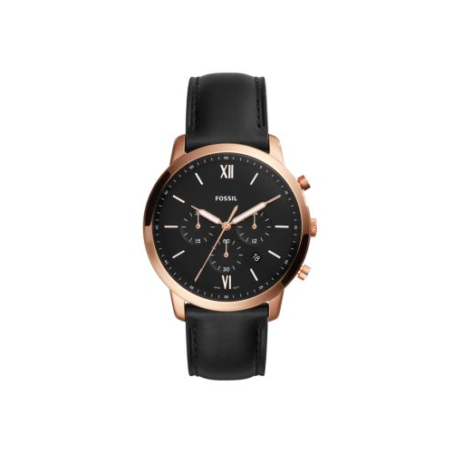 FOSSIL BLACK LEATHER AND ROSE GOLD NEUTRA CHRONO