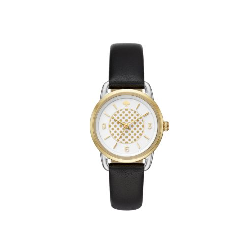 KATE SPADE BLACK LEATHER GOLD TONE WIRE LUG WATCH