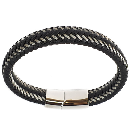 SANTO BLACK LEATHER AND STAINLESS STEEL BRACELET