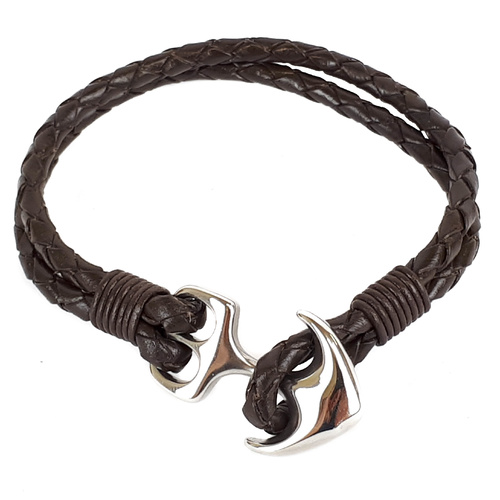 BROWN LEATHER AND STAINLESS STEEL ANCHOR BRACELET