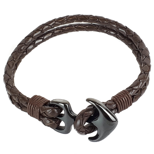 BROWN LEATHER AND BLACK ANCHOR BRACELET