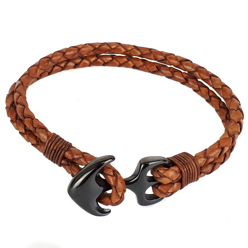 TAN LEATHER AND BLACK ANCHOR BRACELET
