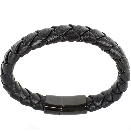 BLACK LEATHER AND BLACK CLASP BRACELET