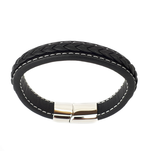 BLACK LEATHER BRACELET WITH STITCHING