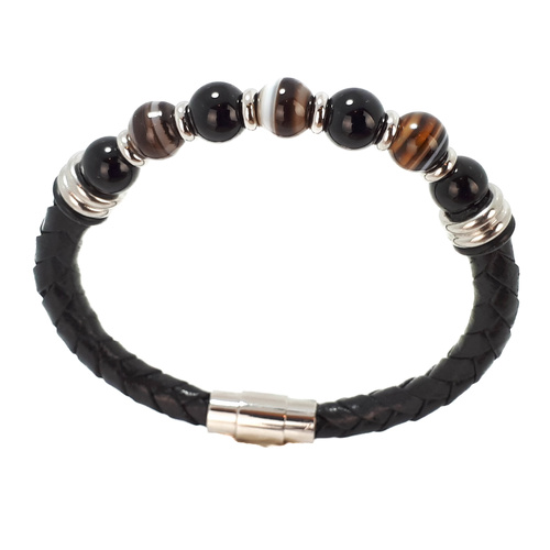 BLACK AGATE AND BROWN JASPER BEAD BRACELET ON LEATHER