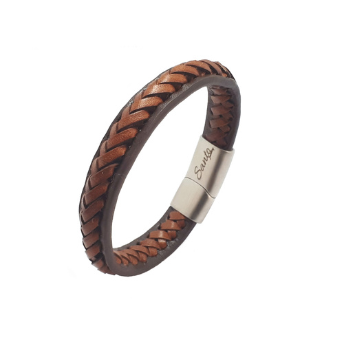 TAN LEATHER SOLID EDGE BRACELET