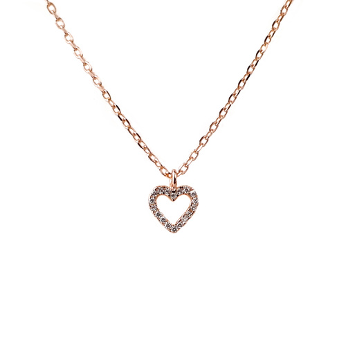 ROSE GOLD CZ OPEN HEART PENDANT