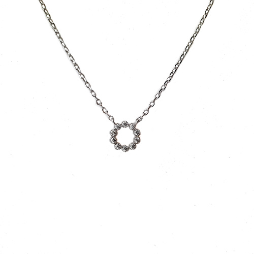 SANTO STERLING SILVER CIRCLE OUTLINE CZ PENDANT