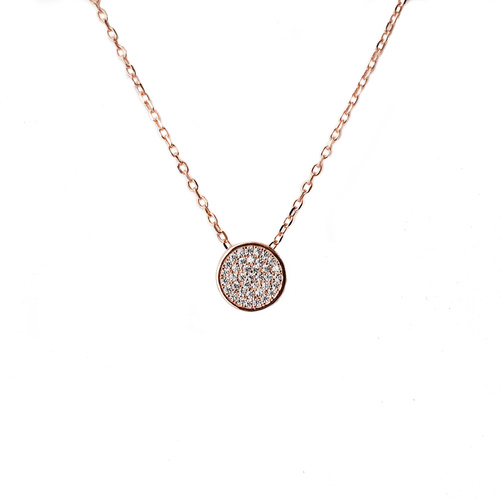 ROSE GOLD PAVE CZ CIRCLE PENDANT