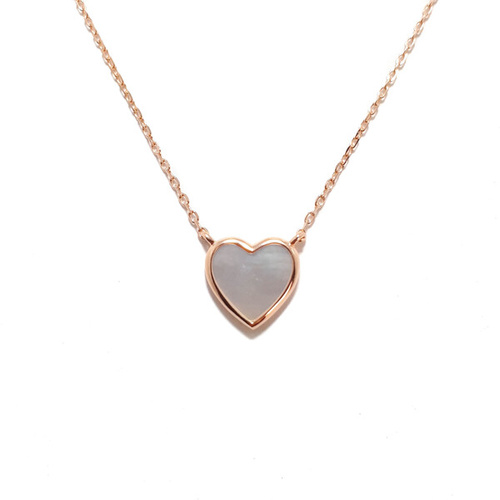 ROSE GOLD MOTHER OF PEARL HEART NECKLACE