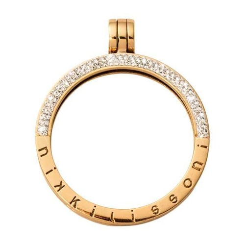 NIKKI LISSONI HALF PAVE GOLD PLATED PENDANT 35mm