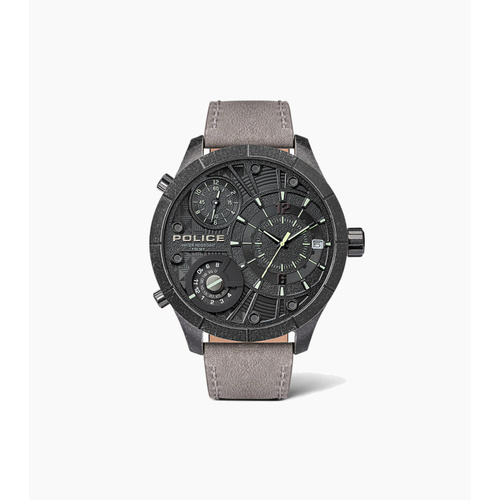 POLICE BUSHMASTER BLACK DIAL GREY LEATHER WATCH