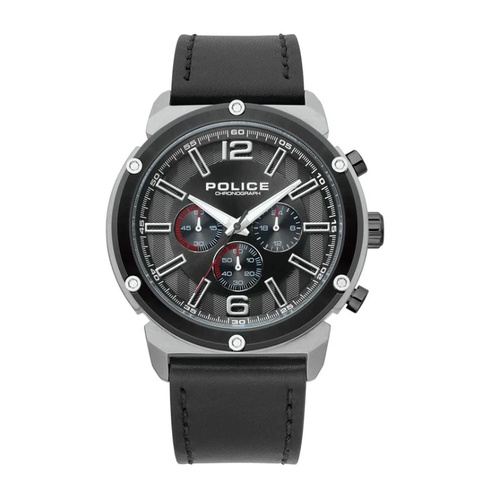 POLICE BREMEN BLACK DIAL BLACK LEATHER WATCH