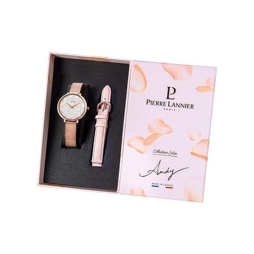PIERRE LANNIER ROSE GOLD MESH AND PINK LEATHERWATCH GIFT SET